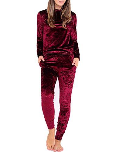 GTKC Donna Pullover di Sport velluto velluto Felpa Tuta 2pz Tuta Sportswear Vino rosso
