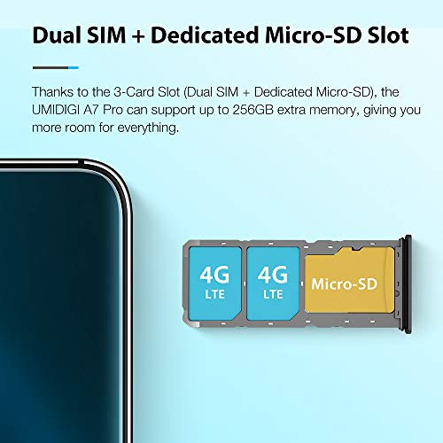 """UMIDIGI A7 Pro Unlocked Cell Phones(4GB+64GB) 6.3"""" FHD+ Full Screen, 4150mAh High Capacity Battery Smartphone with 16MP AI Quad Camera, Android 10 and Dual 4G Volte."""