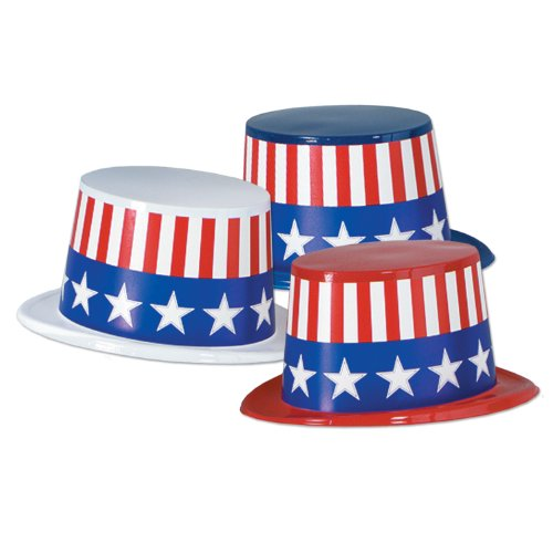 (Beistle 66629-25 25-Pack Plastic Toppers with Patriotic Band)