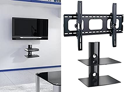 Amazon Com 2xhome New Tv Wall Mount Bracket Two 2 Double Shelf Package Secure Led Lcd Plasma Smart 3d Wifi Flat Panel Screen Monitor Monitor Display Large Displays Flat