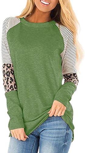 Mujer Leopardo Camiseta Manga Corta Color Bloque Camisas y Blusas Camisetas Jersey C/ómodo Jers/éis T-Shirt Tops
