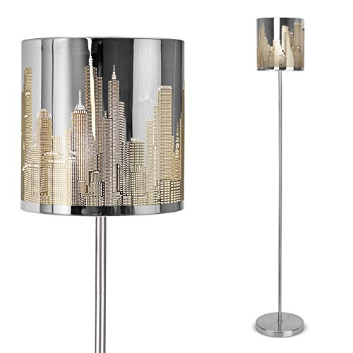 Modern Silver Chrome New York Skyline Floor Lamp