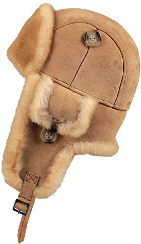 Zavelio Trapper Trooper Leather Aviator Genuine Shearling Sheepskin Hat (Tan, Small)