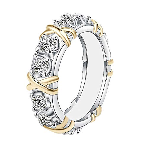 - Ring Laimeng 2-in-1 Womens Vintage White Diamond Silver Engagement Wedding Band Ring Set (9, Colorful)