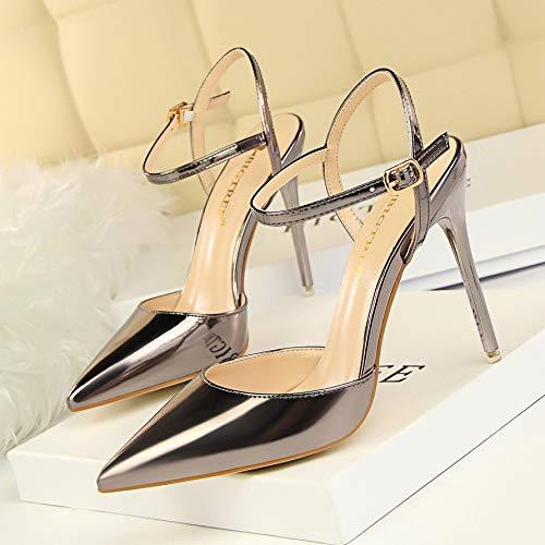 39 Femenino De Otoño Acentuado Cm Bronze Tacones con tacón 10 Yukun Salvaje De zapatos Palabra Club Altos con Púrpura Fino alto de Sandalias Nocturno Claro FHRq1