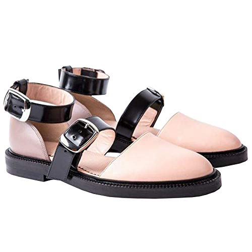 (LAICIGO Women Ballet Flat Mary Jane Low Heel Ankle Strap Dolly Shoes)