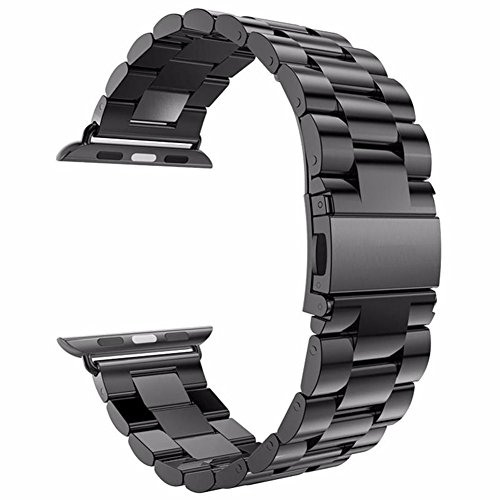 Watch Band , ANGGO Stainless Steel iwatch Strap Replacement Wristwatch Bracelet for Apple Watch Series 3 Series 2 Series 1 All Version (42mm / (Black Belt Watch)
