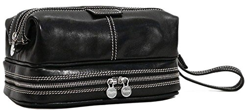 Floto Positano Travel Kit, Leather Toiletry Bag in Black by Floto