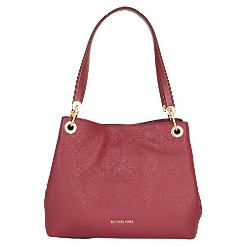 MICHAEL Michael Kors Womens Raven Pebbled Organizational Tote Handbag Red Medium