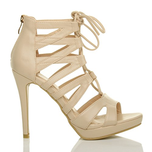 Matte Ladies Sandals Size Ghillie Women up Ajvani High Nude Heel Lace Owv5Zqx7
