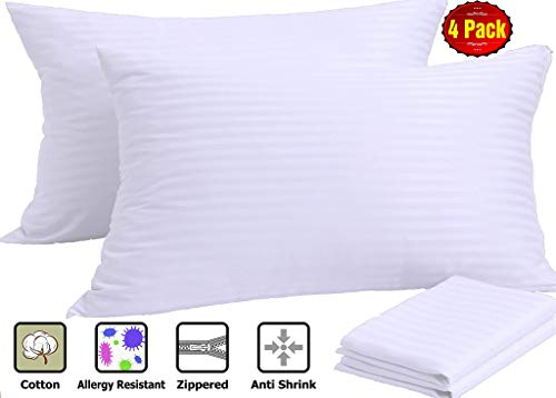 Niagara Sleep Solution Pillowcases 4 Pack Queen Zippered White Cotton Sateen Pillow Protectors Premium High 200/300 Thread Count Set Hypoallergenic Soft Hotel Quality Covers from
