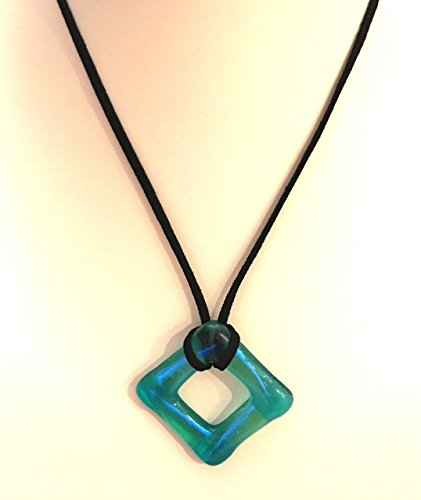 Light Green and Blue Dichroic Glass Square Pendant Necklace