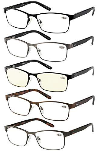 Eyecedar 5-Pack Reading Glasses Men Metal Frame Rectangle Style Stainless Steel Material Spring Hinges Includes Computer Readers +1.50 ()