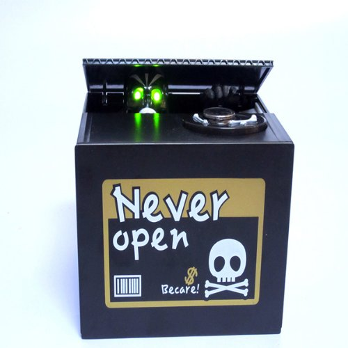 Automated Skull Heads Ghost Sound Funny And Cool Coin Piggy Bank Saving Money Box Novelty - Black