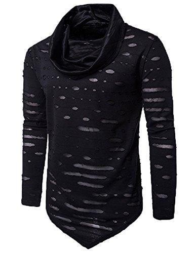 Zuckerfan Men's Long sleeves Cowl Collar Hipster Hip Hop Rock Fashion Casual Sexy T-shirt Top(Black,Medium)