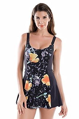 La Isla Women's Floral Print One Piece Swimwear Swimsuit Beachwear with Skirt