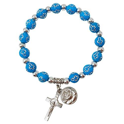 Treasure4U-Store Rosary Beads Catholic Bracelet Women Stretch Bracelets Rose & Cross Charm Blue