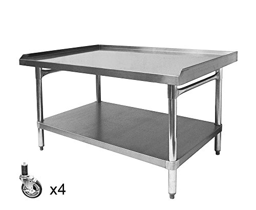 ACE Equipment Stand Stainless Steel Top, Galvanized Undershelf and Legs With Set Of Four 4'' Stem Casters. (ETL Certified) Size:30''W x 36-1/2''L x 27''H, Model#ES-3036+KS4113 by ACE