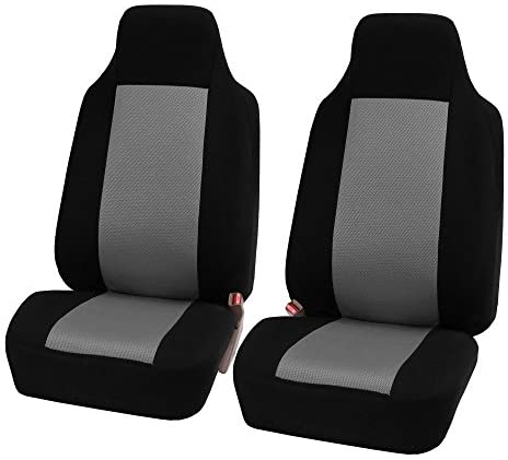 FH Group Classic Flat Cloth Front Set Bucket Car Seat Covers, Gray/Black – Universal Fit for Cars Trucks & SUVs