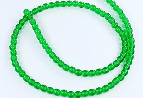 Beads 4mm Round Druk (100 Green Emerald Czech Pressed Glass Druk Round Beads 4mm)