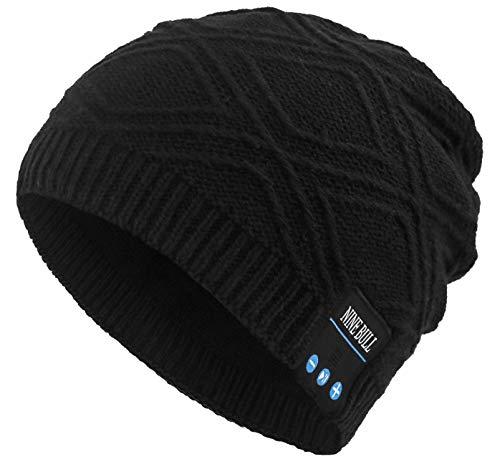 nine bull Bluetooth Beanie Hat HD Stereo Bluetooth 4.1 Wireless Smart Beanie Headset Musical Knit Headphone Speaker Hat Speakerphone Cap,Built-in Mic (Black). (Best Headset For Cold Calling)