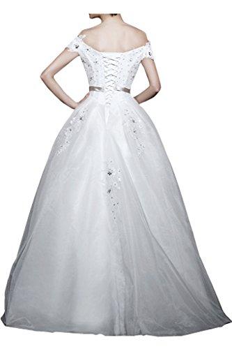 Glamour Steine Neuheit mia Brautmode brautkleider Kurzarm La 2016 Hochzeitskleider Braut Lang Schulterfrei qatXI