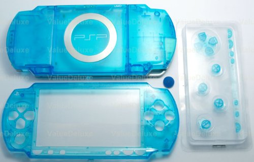 Clear Blue - Sony PSP 1000 Full Housing Shell Cover Replacement with Button Set