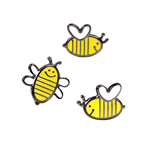 h Pin Set 3pcs Pretty Cute Bees Pattern Enamel-liked Lapel Pins Set Badges for Unisex Child Women Girls Clothes Bags Decor ()