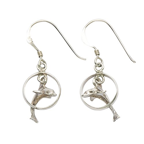 ling Dolphin in Hoop French Wire Earrings (Dolphin French Wire Earrings)