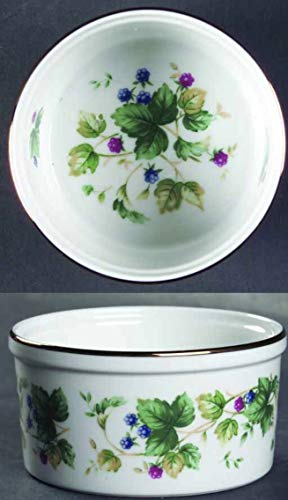 Trim Ramekin - Andrea by Sadek Vineyard Pattern - Green Vine, Red Blue Berries, Gold Trim (Ramekin - Set of 4)