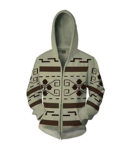 VOSTE Jeffrey Lebowski Cosplay Jacket The Dude Zip Up Hoodie Costume Buttom Shirt (XX-Large, Color 1)