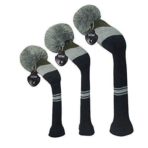 Scott Edward Olive Grey Navy Big Stripes Grey Pom Pom Golf Head Covers Set of 3 for Golf Wood Clubs, Rotating Number Tags