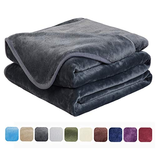 EASELAND Soft King Size Blanket Winter Warm Microplush Lightweight Thermal Fleece Blankets for Couch Bed Sofa,90x108 Inches,Dark Gray (King Blanket)