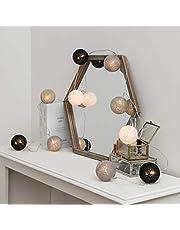 batteriebetrieben Lichterkette mit Baumwoll Kugeln in Grau/Schwarz/Weiß, 10 LEDs in warmweiß, von Festive Lights