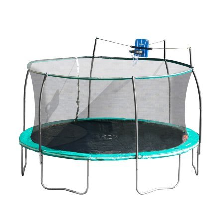 14' Steelflex Trampoline with Basketball Hoop and Safety Enclosure Netting