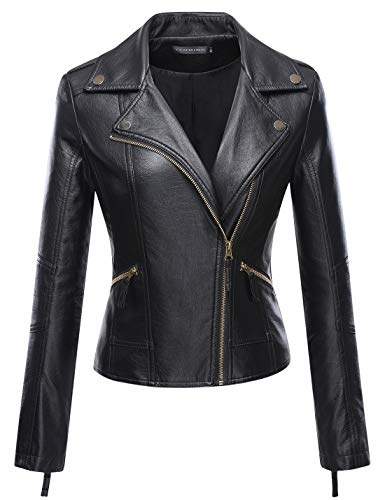Pocket Leather Zip Jacket Four - Tanming Women's Zip Up Faux Leather PU Jacket Outerwear (Medium, Black10)