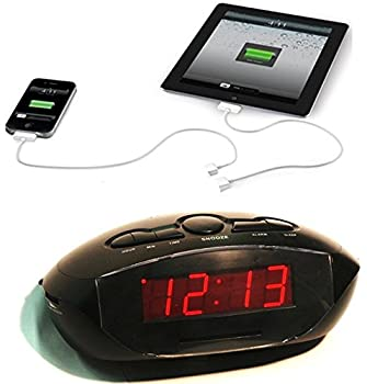 Sonnet AM/FM LED Clock Radio with Aux-In and 2 USB R-1634