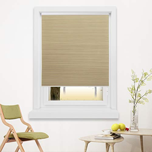 Grandekor Cellular Shades Cordless Blinds Blackout Fabric Shades Honeycomb Door Window Shades Pale Beige-White, 46x48 inch