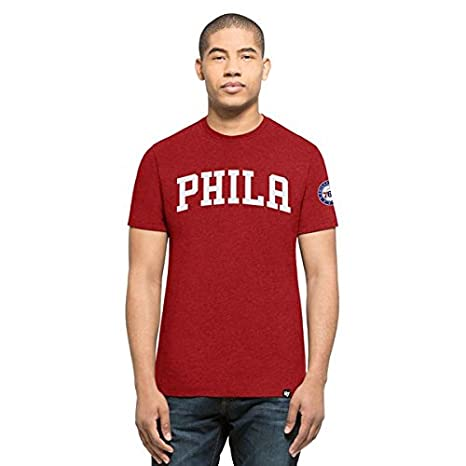 47 Marca Philadelphia 76ers NBA Script T-Shirt Rojo