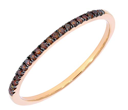 Prism Jewel Round Cognac Diamond Half Eternity 1.5 mm Stackable Ring in 10k Rose Gold, Size 8.5
