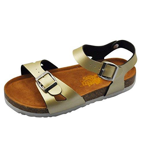 Sandalias de verano de las mujeres Zapatos Sandalias Planas Zapatos De Damas de plataforma Zapatos de la playa Oro
