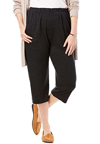 Women's Plus Size 7-Day Knit Capri (Capris Womens Gray)