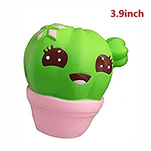 Xinzistar Kawaii Jumbo Slow Rising Squishies Cream Scented Squeeze Kid Toy Phone Charm Gift for Stress Relief (Cactus)