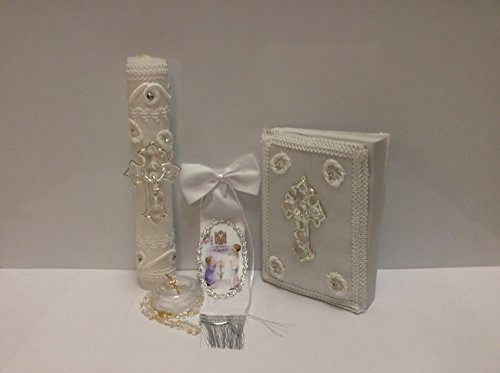 Casa Ixta First communion candle set with crystal cross