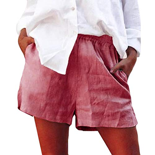 Jumaocio Shorts Women's Cotton Flax Shorts Front Pleated Back Elastic High Waist Wide Leg Shorts Fashion Solid Color Elastic Short Pants Beach Shorts Pink