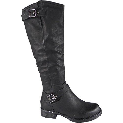 Ladies Knee High Biker Long Stud Boots Buckle Zip Low Heel Shoes Size 3-8 Black A6b9t