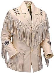 LEATHERAY Men's Fashion Western Genuine Cowboy Jacket Native American Wears Fringed & Beaded Jacket Co