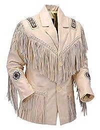 LEATHERAY Men's Fashion Western Genuine Cowboy Jacket Native American Wears Fringed & Beaded Jacket Cow Leather Beige