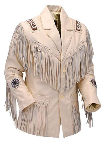LEATHERAY Men's Fashion Western Genuine Cowboy Jacket Native American Wears Fringed & Beaded Jacket Cow Leather Beige 3XL ()