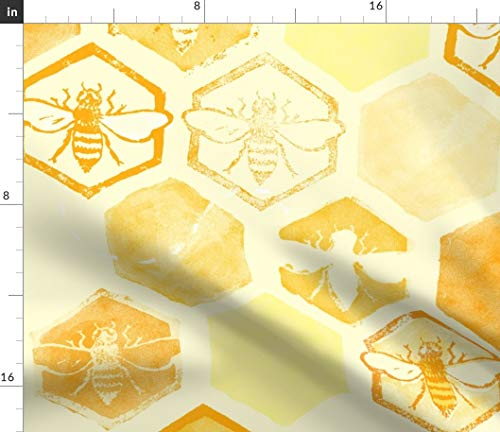 Spoonflower Honey Comb Bees Fabric - Dance of Light Yellow Hexagon Honeybees Hive Bumble Honeycombs Print on Fabric by The Yard - Organic Cotton Knit for Baby Blankets Clothing Apparel T-Shirts